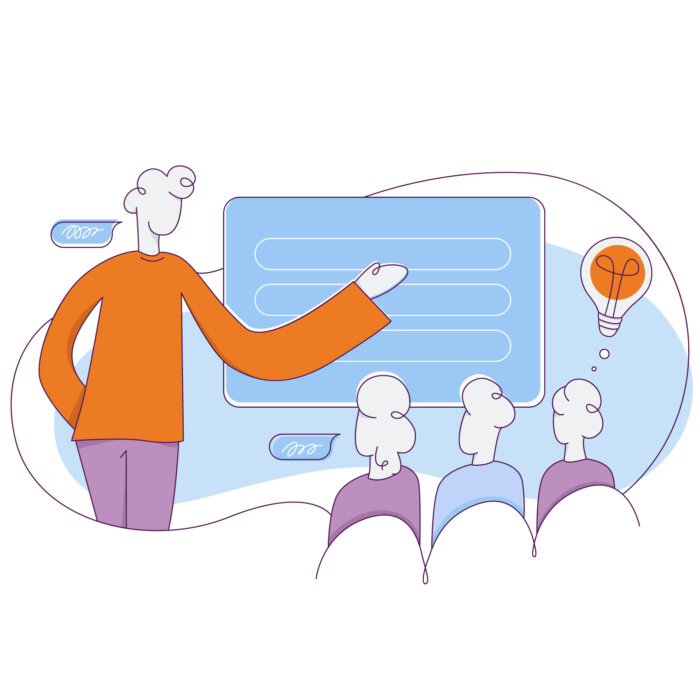 A cartoon image of people in a workshop, learning from a mentor.