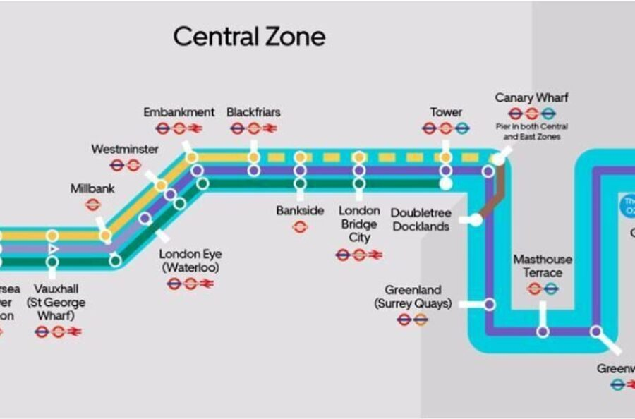 A graphic showing the Thames Clipper route central zone