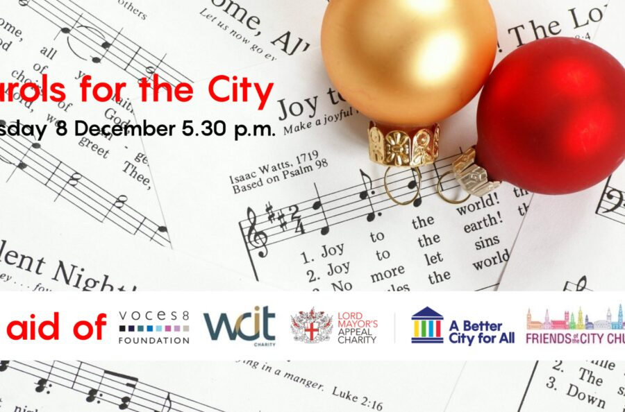 An image of the carol concert banner in aid of a number of the Lord Mayors charities.