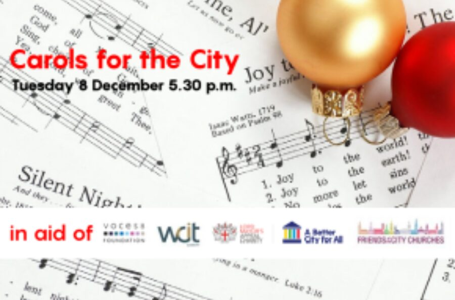 An image of the carol concert banner, displaying the date and times of the event, as well as the names of the charities it will be supporting.