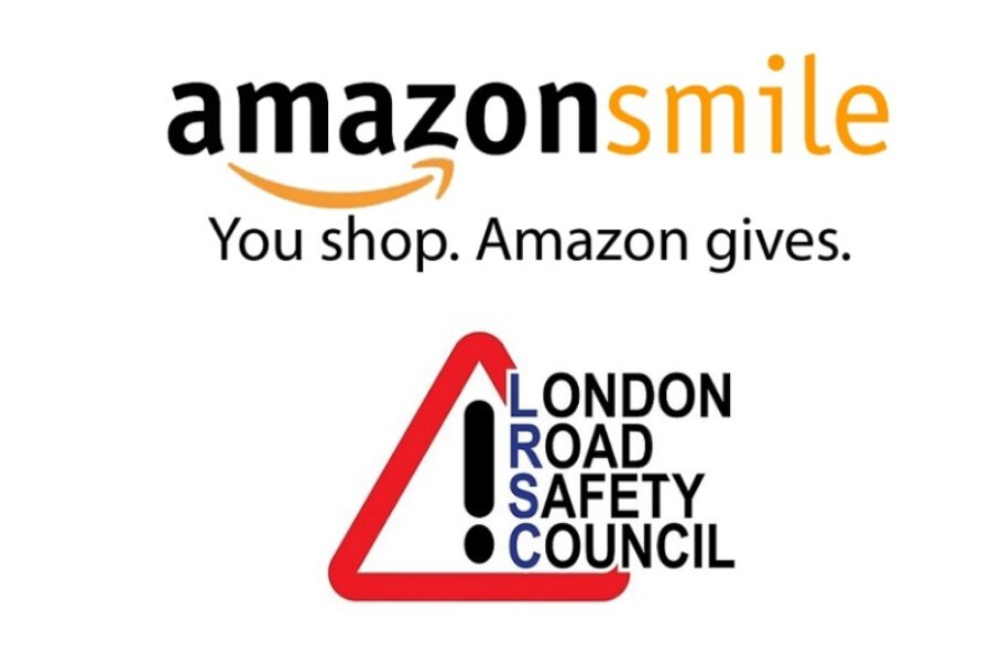 Image of the London Road Safety Council Logo and the Amazon Smile Logo.