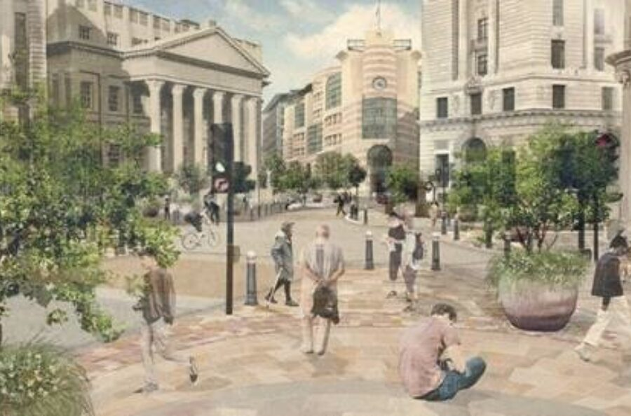 An image of what Bank Junction could look like in the future. The image envisages the proposal to further restrict motor vehicle movements, improvements for people who walk and cycle, and greening and seating.