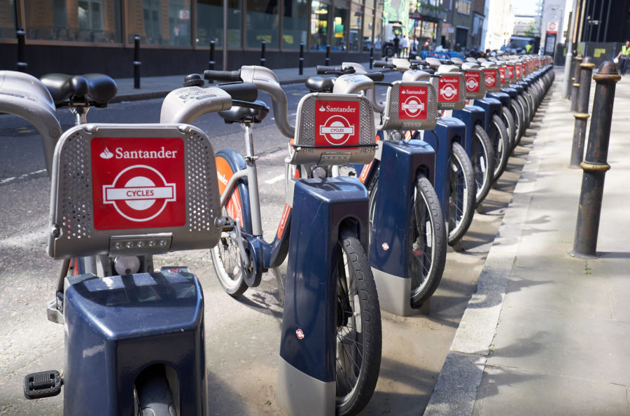 Image of Santander Bike parked in the City