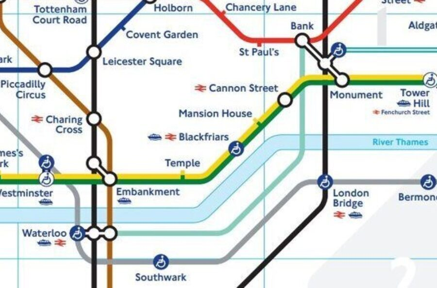 An image of the Waterloo and City line tube map (TFL Image)