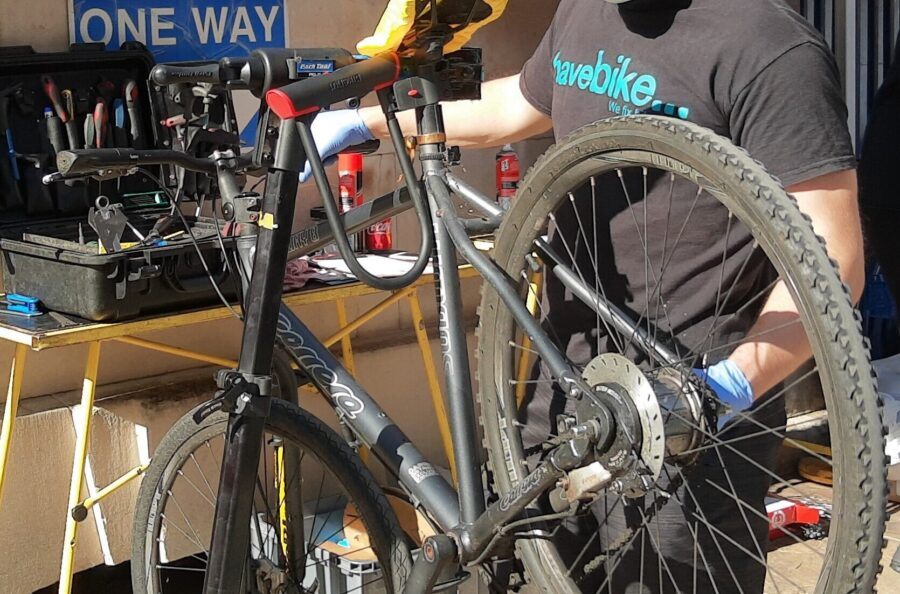 DR Bike fixes a bike at St Bartholomew's Hospital Road Safety Roadshow